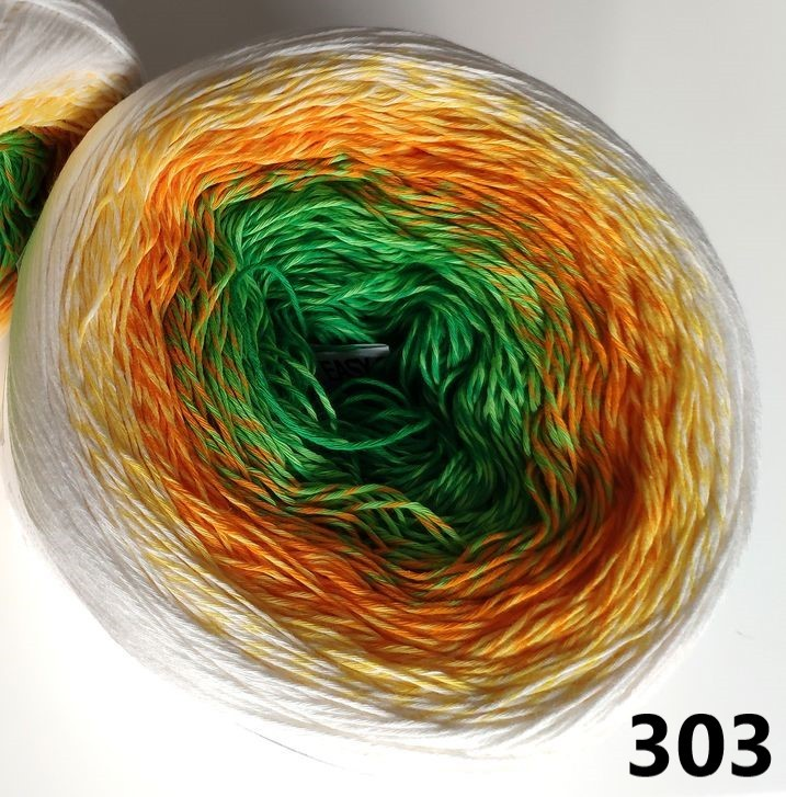 303 bielo-žlto-oranžovo-zelená