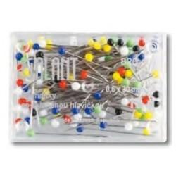Špendlíky so sklenou hlavičkou farebné 0,6 x 30mm - 10g  Galant